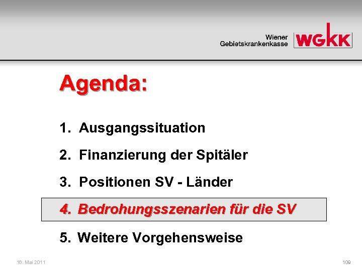 Agenda: 1. Ausgangssituation 2. Finanzierung der Spitäler 3. Positionen SV - Länder 4. Bedrohungsszenarien