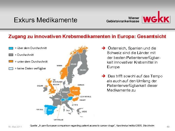 Exkurs Medikamente Zugang zu innovativen Krebsmedikamenten in Europa: Gesamtsicht = über dem Durchschnitt =