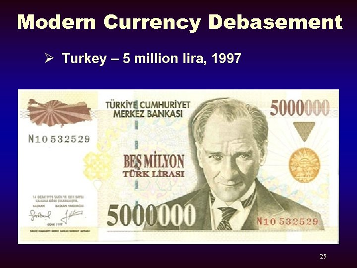 Modern Currency Debasement Ø Turkey – 5 million lira, 1997 25