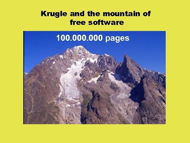 Krugle and the mountain of free software 100. 000 pages