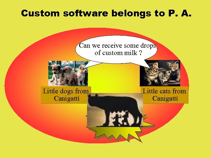 Custom software belongs to P. A. Can we receive some drops of custom milk