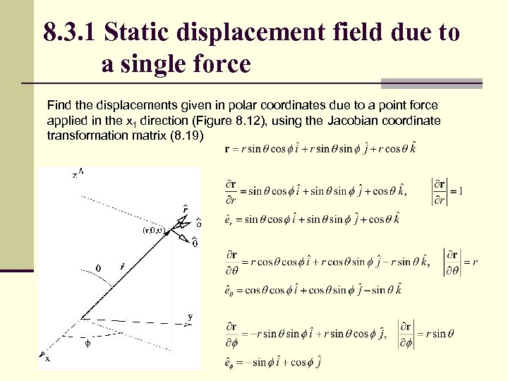 8. 3. 1 Static displacement field due to a single force Find the displacements