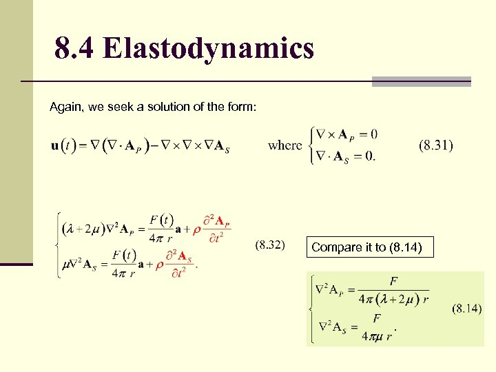 8. 4 Elastodynamics Again, we seek a solution of the form: Compare it to