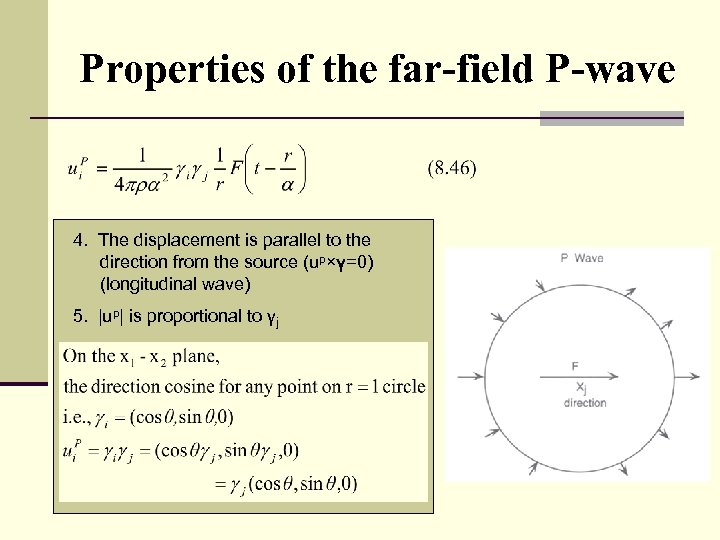 Properties of the far-field P-wave 4. The displacement is parallel to the direction from