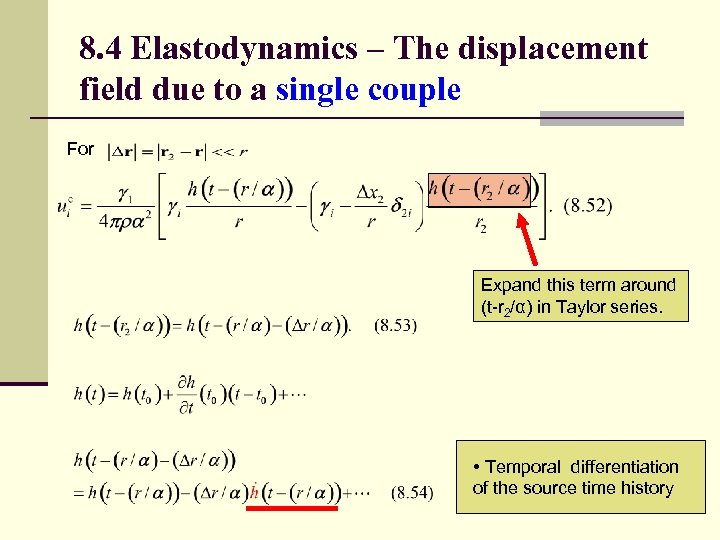 8. 4 Elastodynamics – The displacement field due to a single couple For Expand