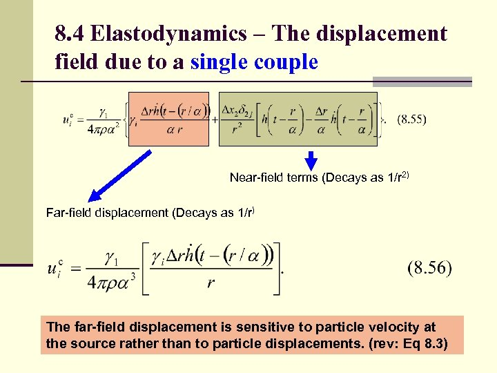 8. 4 Elastodynamics – The displacement field due to a single couple Near-field terms