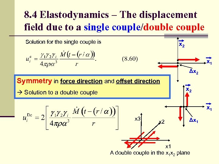 8. 4 Elastodynamics – The displacement field due to a single couple/double couple Solution