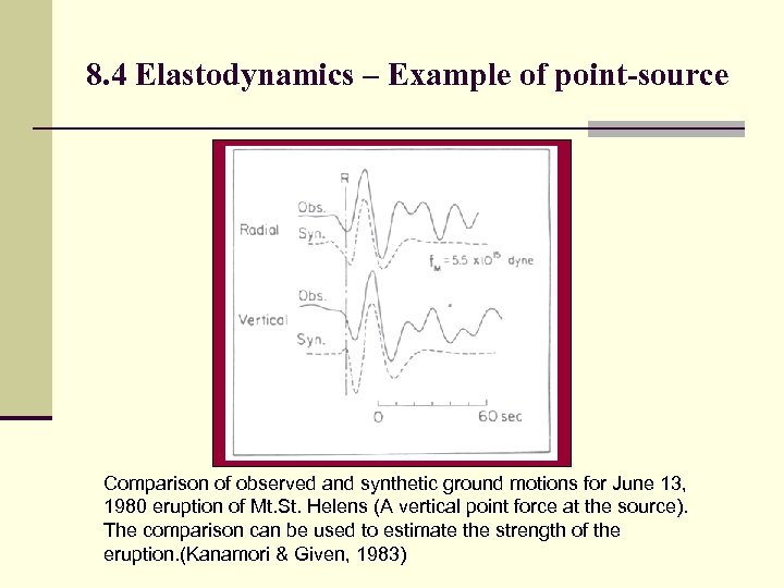 8. 4 Elastodynamics – Example of point-source Comparison of observed and synthetic ground motions