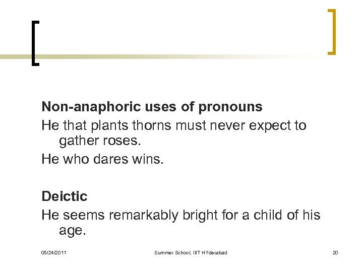 Non-anaphoric uses of pronouns He that plants thorns must never expect to gather roses.