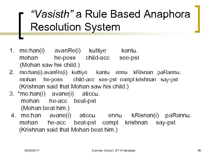 """Vasisth"" a Rule Based Anaphora Resolution System 1. mo: han(i) avan. Re(i) kuttiye mohan"