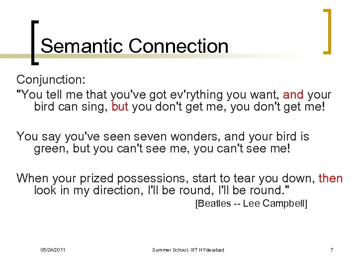 Semantic Connection Conjunction: