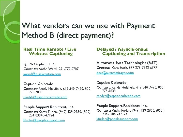 What vendors can we use with Payment Method B (direct payment)? Real Time Remote