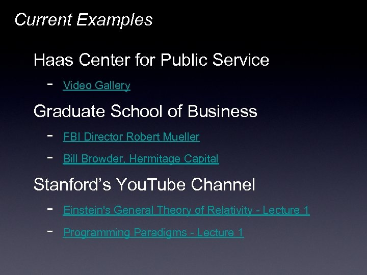 Current Examples Haas Center for Public Service - Video Gallery Graduate School of Business