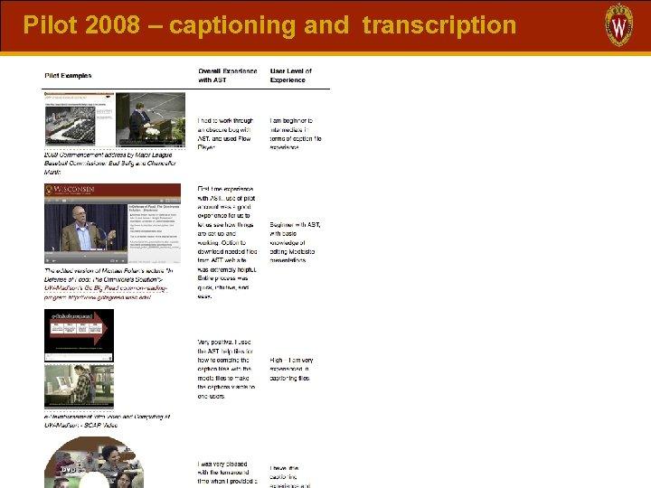 Pilot 2008 – captioning and transcription
