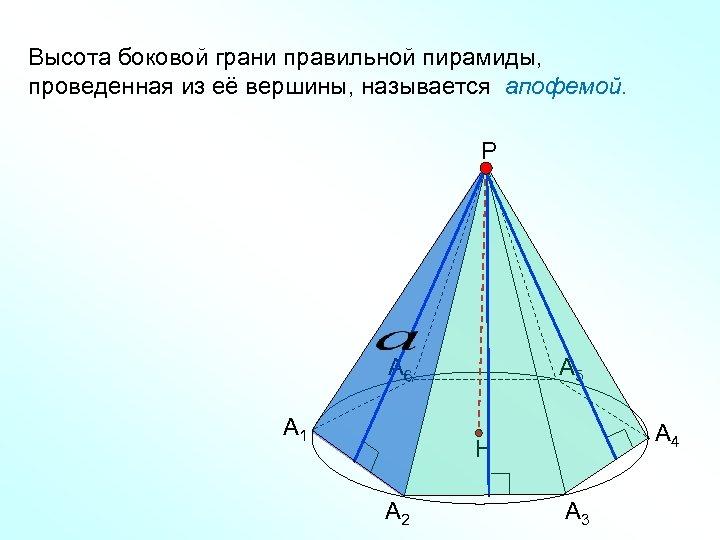 Высота боковой грани правильной пирамиды, проведенная из её вершины, называется апофемой. Р А 6
