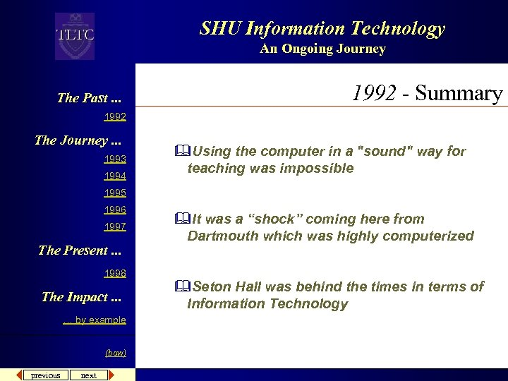 SHU Information Technology An Ongoing Journey The Past. . . 1992 - Summary 1992