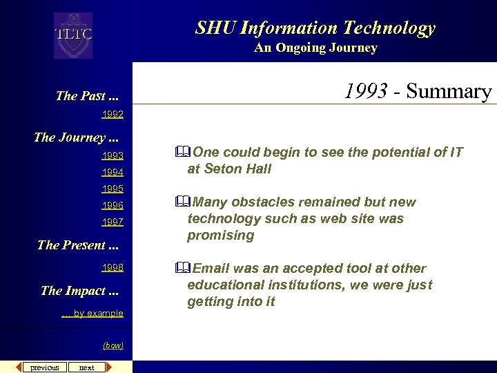 SHU Information Technology An Ongoing Journey The Past. . . 1993 - Summary 1992
