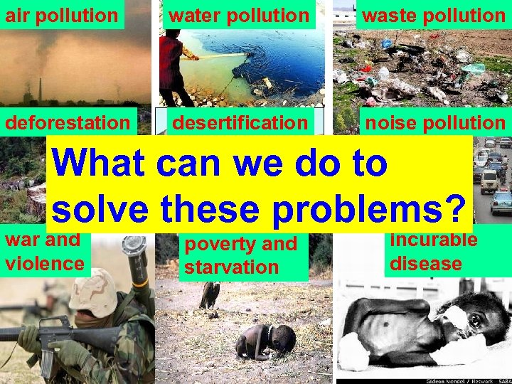 air pollution water pollution waste pollution deforestation desertification noise pollution What can we do