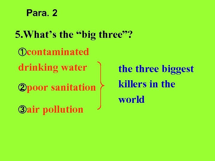 "Para. 2 5. What's the ""big three""? ①contaminated drinking water ②poor ③air sanitation pollution"