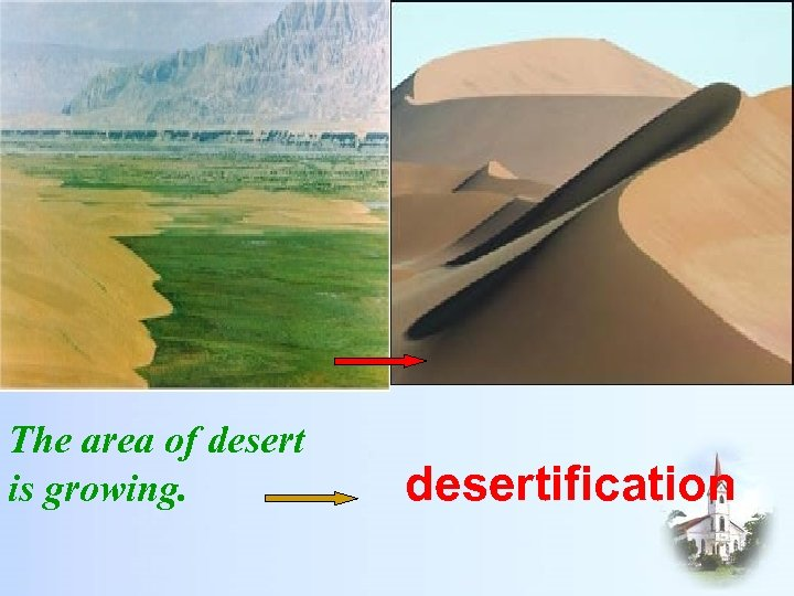 The area of desert is growing. desertification
