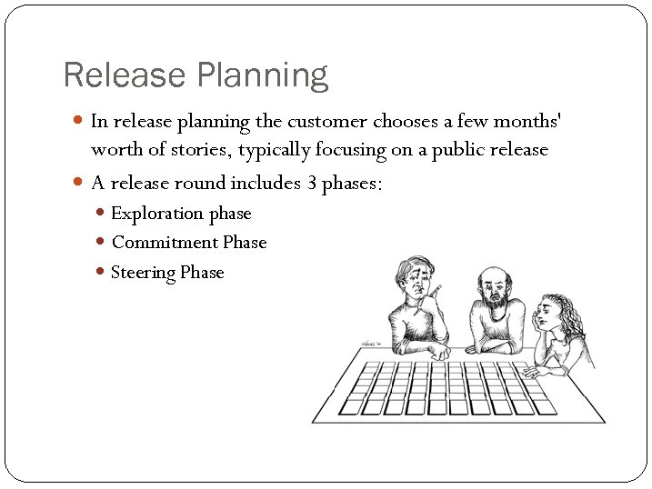 Release Planning In release planning the customer chooses a few months' worth of stories,