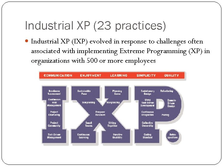 Industrial XP (23 practices) Industrial XP (IXP) evolved in response to challenges often associated