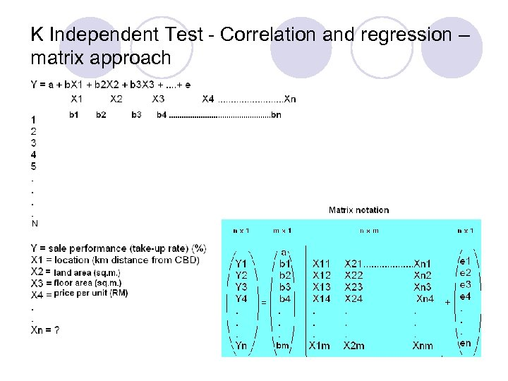 K Independent Test - Correlation and regression – matrix approach