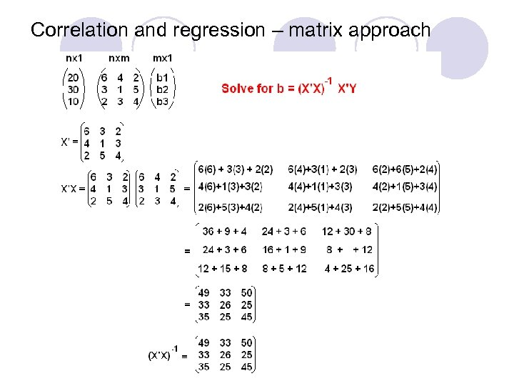 Correlation and regression – matrix approach