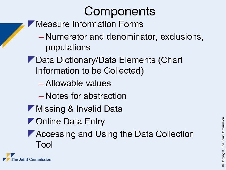 z Measure Information Forms – Numerator and denominator, exclusions, populations z Data Dictionary/Data Elements