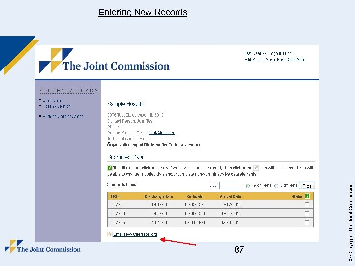 87 © Copyright, The Joint Commission Entering New Records
