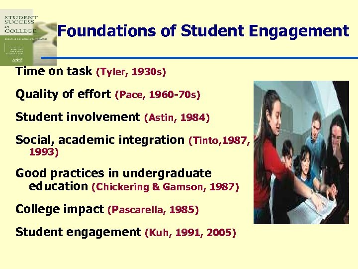 Foundations of Student Engagement Time on task (Tyler, 1930 s) Quality of effort (Pace,