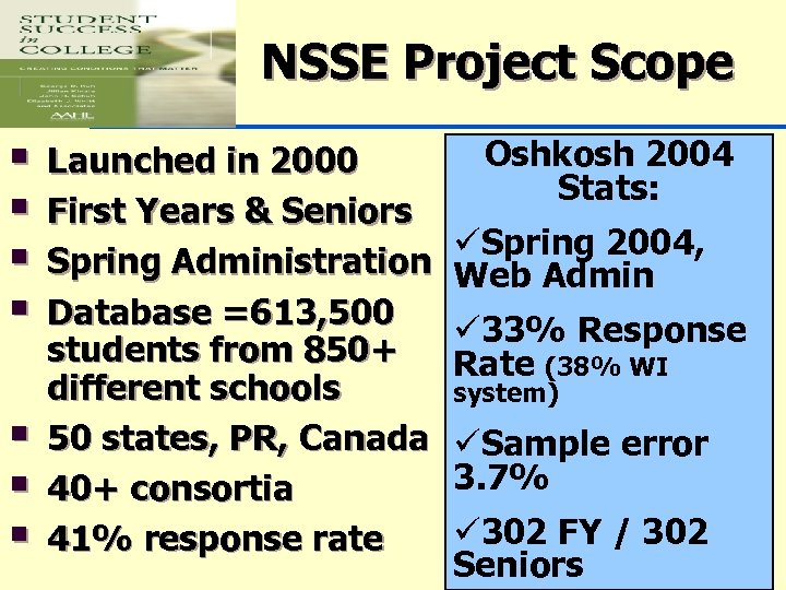 NSSE Project Scope § § § § Launched in 2000 First Years & Seniors