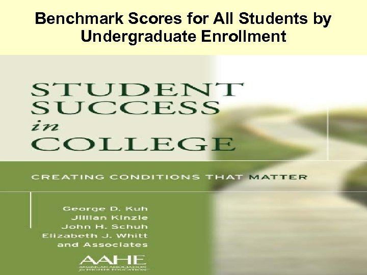 Benchmark Scores for All Students by Undergraduate Enrollment