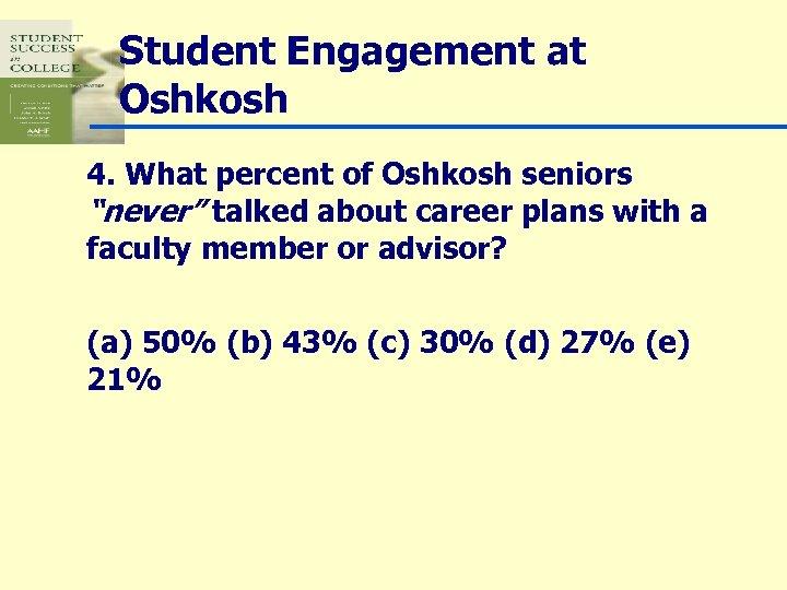 """Student Engagement at Oshkosh 4. What percent of Oshkosh seniors """"never"""" talked about career"""