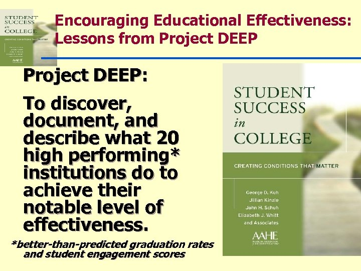 Encouraging Educational Effectiveness: Lessons from Project DEEP: To discover, document, and describe what 20