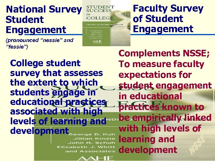 """National Survey of Student Engagement (pronounced """"nessie"""" and """"fessie"""") College student survey that assesses"""