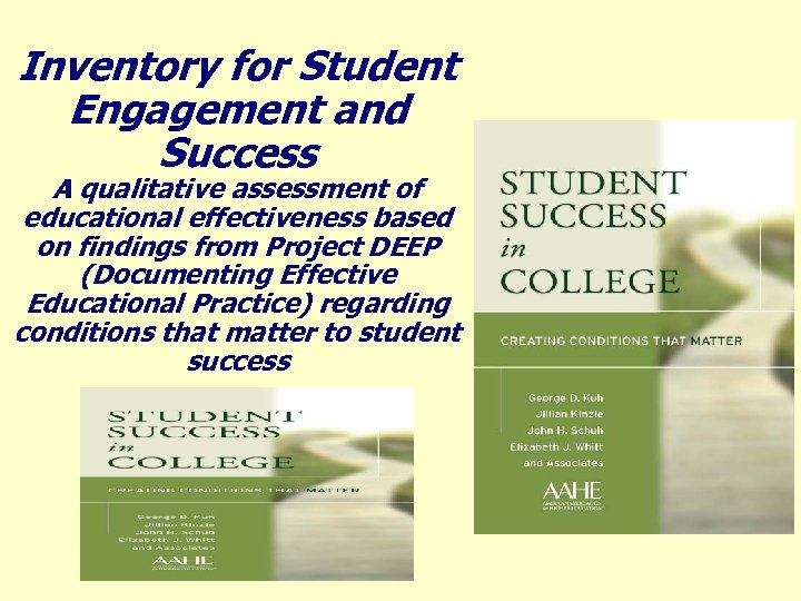 Inventory for Student Engagement and Success A qualitative assessment of educational effectiveness based on