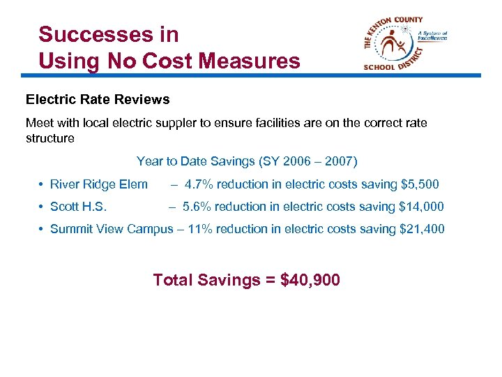 Successes in Using No Cost Measures Electric Rate Reviews Meet with local electric suppler