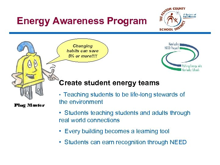 Energy Awareness Program Changing habits can save 5% or more!!!! Create student energy teams