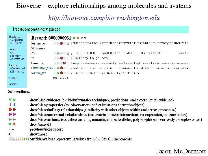 Bioverse – explore relationships among molecules and systems http: //bioverse. compbio. washington. edu Jason