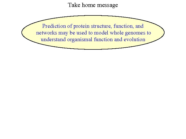 Take home message Prediction of protein structure, function, and networks may be used to