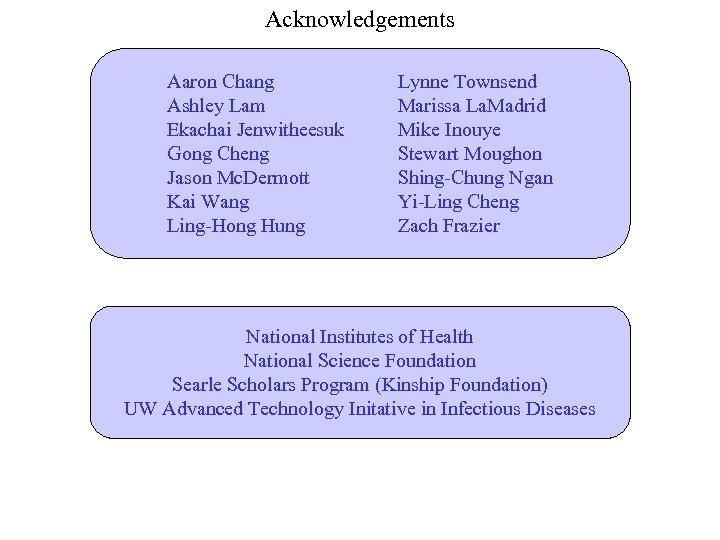 Acknowledgements Aaron Chang Ashley Lam Ekachai Jenwitheesuk Gong Cheng Jason Mc. Dermott Kai Wang