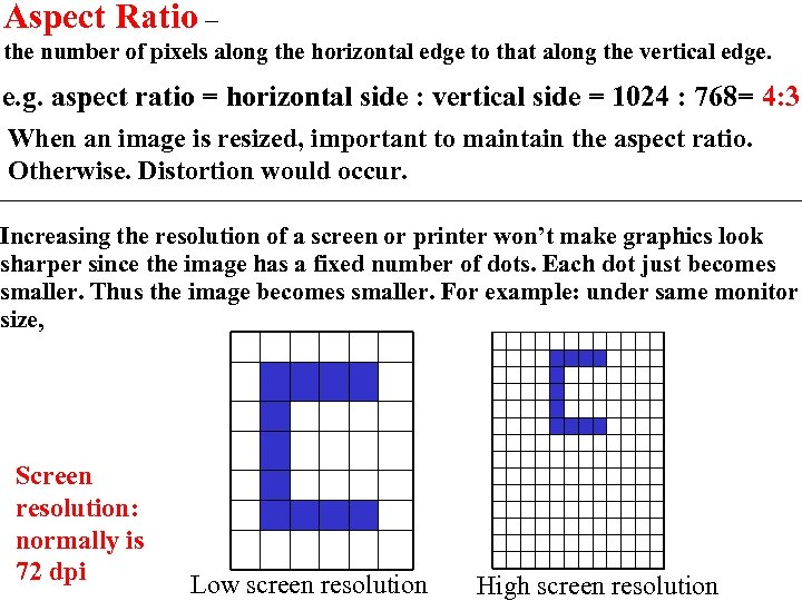 Aspect Ratio – the number of pixels along the horizontal edge to that along