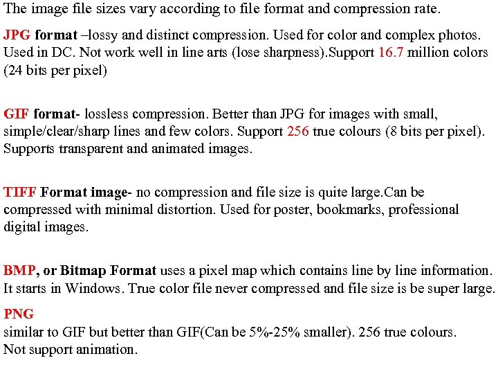 The image file sizes vary according to file format and compression rate. JPG format