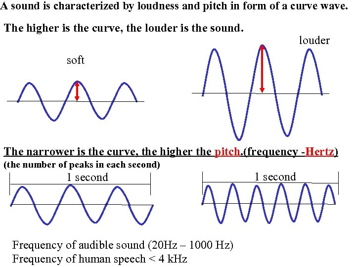 A sound is characterized by loudness and pitch in form of a curve wave.