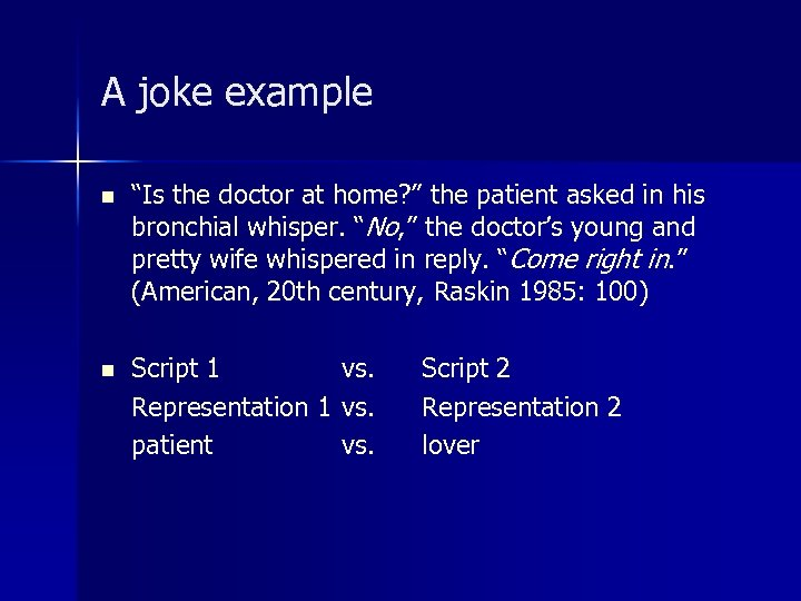 """A joke example n """"Is the doctor at home? """" the patient asked in"""