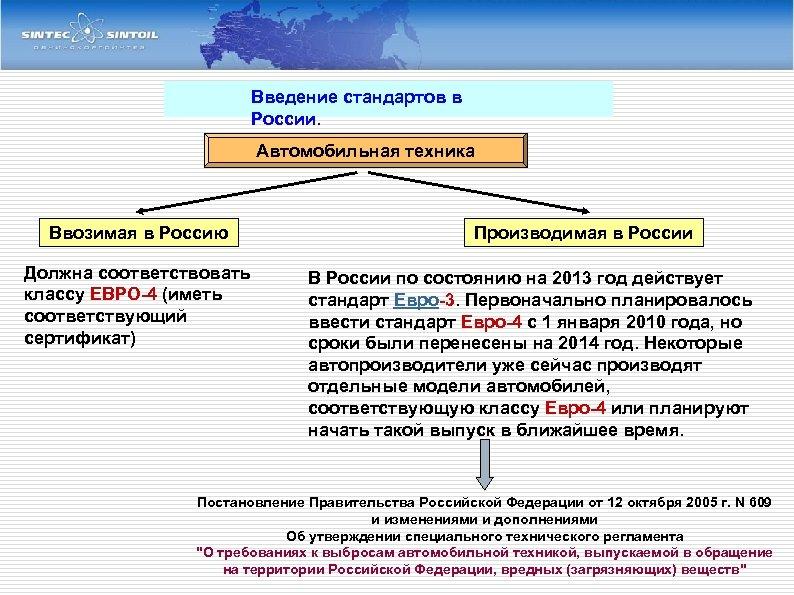 Введение стандартов в России. Автомобильная техника Ввозимая в Россию Должна соответствовать классу ЕВРО-4 (иметь