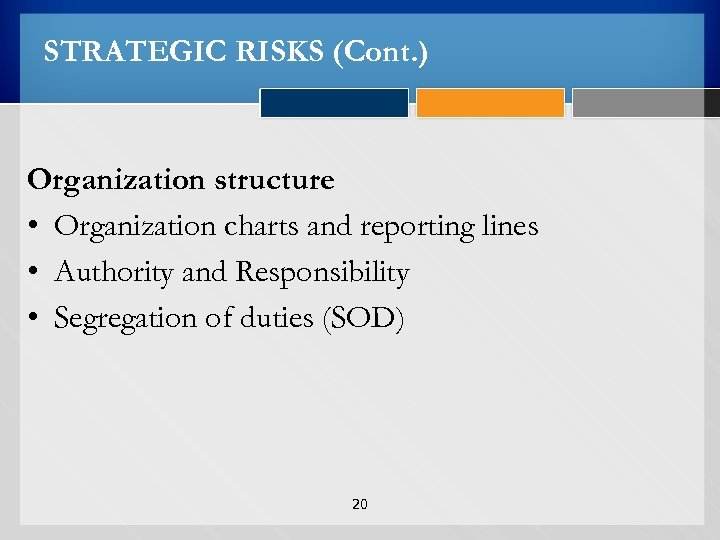 STRATEGIC RISKS (Cont. ) Organization structure • Organization charts and reporting lines • Authority