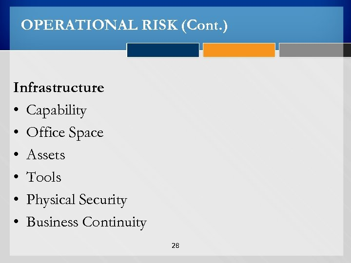 OPERATIONAL RISK (Cont. ) Infrastructure • Capability • Office Space • Assets • Tools