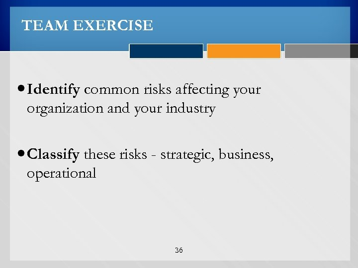 TEAM EXERCISE Identify common risks affecting your organization and your industry Classify these risks